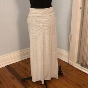 Gray & White Striped Maternity Maxi Skirt